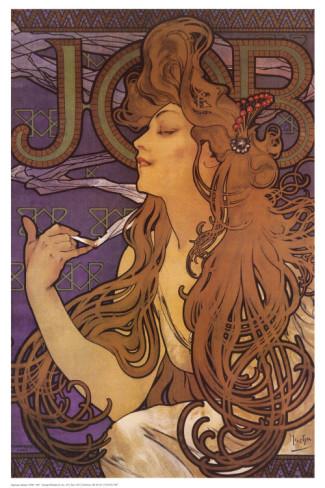 ilustração de Mucha para os cigarros Job